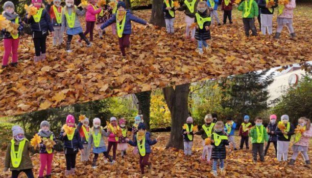 Malowała Jesień w parku złote liście